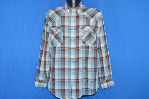 80s Levis Brown Blue Plaid Pearl Snap Shirt Large