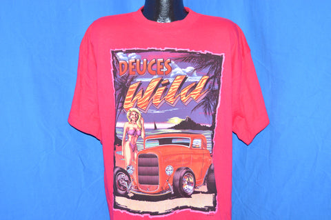 90s Deuces Wild Classic Cars Sunset Sailboat Bikini Pink t-shirt Extra-Large