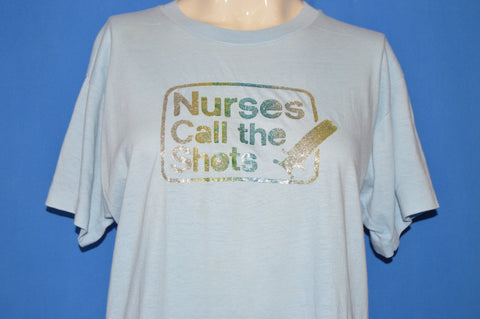 80s Nurses Call The Shots Glitter Iron On t-shirt Large