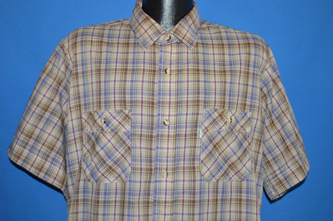 80s Levis Brown Purple Plaid Button Down Shirt Extra Large