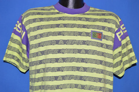 90s Bossini Neon Striped Skating t-shirt Small