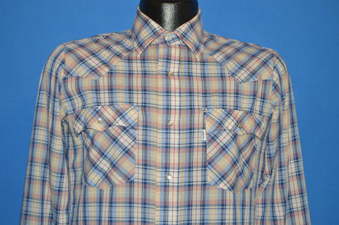 80s Levis Brown Purple Plaid Pearl Snap Western Shirt Small