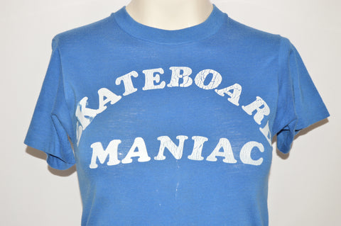 70s Skateboard Maniac Iron On Letters Blue White t-shirt Youth Large
