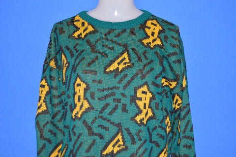 80s Green Abstract Geometric Ugly Sweater Women's Medium