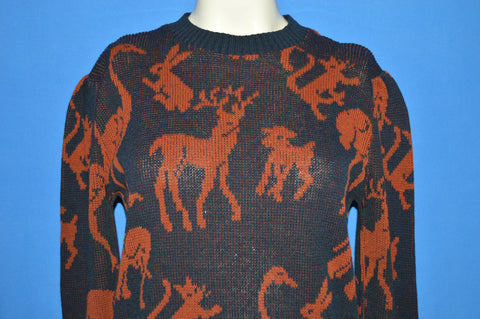 90s Donagain Animal All Over Knit Sweater Women's Size 8