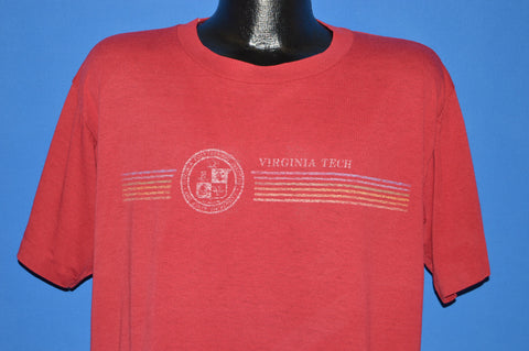 80s Virginia Tech Rainbow Striped t-shirt Extra Large