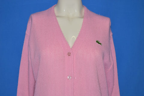 80s Lacoste Pink Alligator Women's Cardigan Sweater Large
