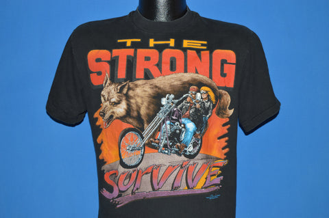 90s The Strong Survive Motorcycle t-shirt Medium