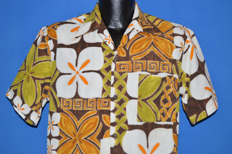 60s Floral Tiki Bark Cloth Hawaiian Aloha Shirt Medium