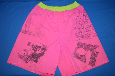 90s Hobie Neon Pink Nylon Men's Surf Swimsuit Medium