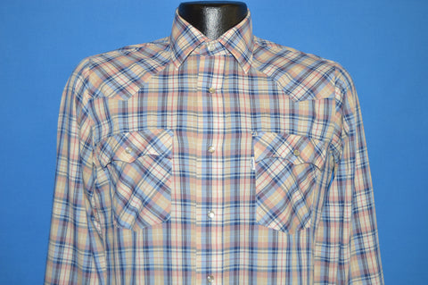 80s Levis Blue Beige Plaid Pearl Snap Shirt Small