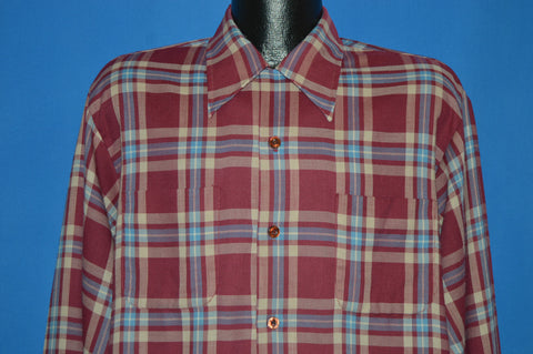 70s Button Front Big Collar 1940s Style Men's shirt Extra Large