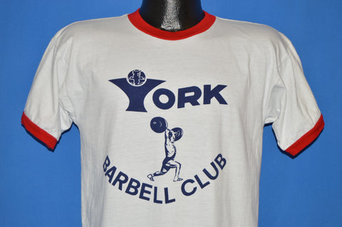 70s York Barbell Club Champion Blue Bar t-shirt Medium
