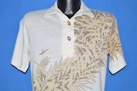 70s Tropical Leaves Waves Polo Shirt Medium