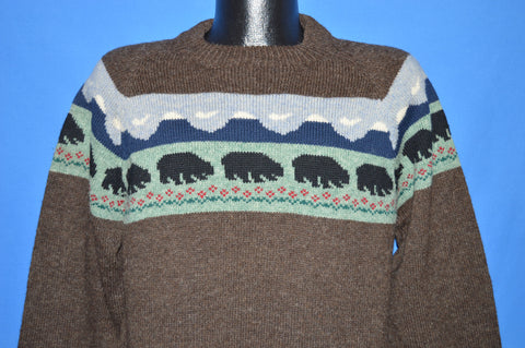 80s Patricia Buck Black Bear Wool Sweater Medium