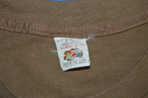 70s Fruit Of The Loom Brown Blank t-shirt Extra Large