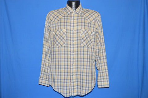 80s Tan Blue Plaid Western Pearl Snap Shirt Large