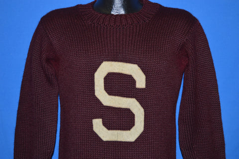 40s Stanford Cardinals Maroon Letterman Wool Sweater Medium