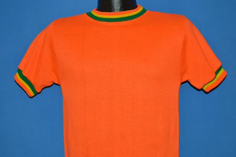 70s Orange Short Sleeve Ringer Sweatshirt Small