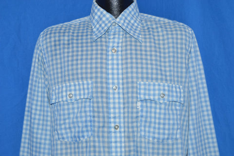 80s Levi's Blue and White Gingham Shirt Large