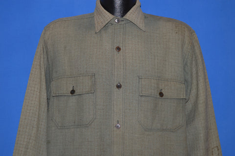 30s Bobcat Wool Workwear Shirt Large