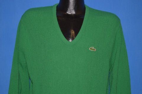 80s Izod Lacoste Kelly Green V Neck Sweater Medium