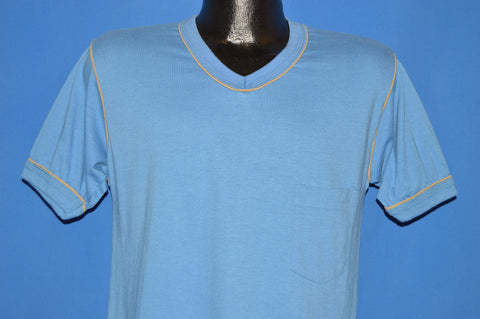 80s Blank Blue USA Pocket V-Neck t-shirt Medium