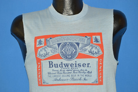 80s Budweiser Beer Distressed Sleeveless t-shirt Small