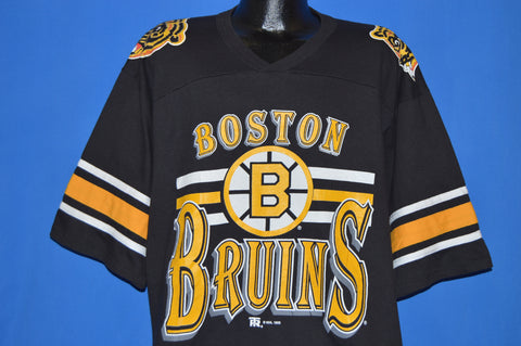 90s Boston Bruins Striped V-Neck Jersey t-shirt Extra Large