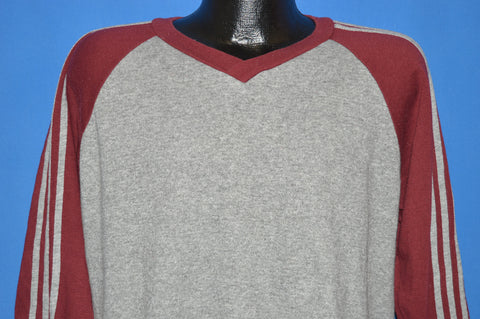 80s Gray and Maroon Striped V-Neck sweatshirt