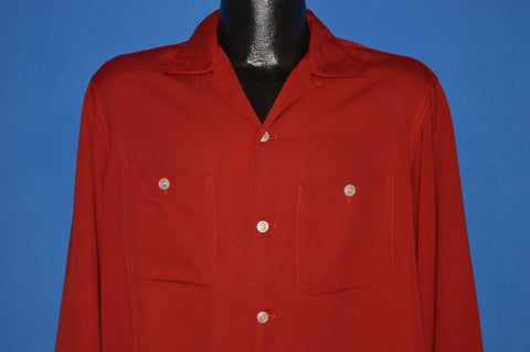 40s Pennleigh Rayon Garbardine Red Button Down Shirt Medium