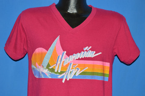 80s Hawaii Air Rainbow Surfing V-Neck t-shirt Medium