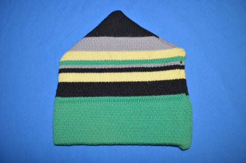 80s Green Striped Wool Winter Hat