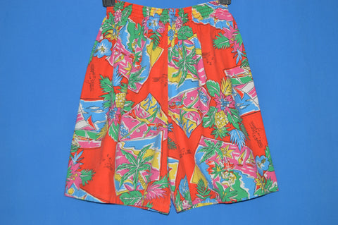 80s Red Hawaiian Sailboat Women's Shorts Medium