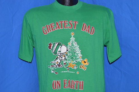 80s Snoopy Greatest Dad on Earth Peanuts Christmas t-shirt Medium