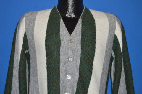 60s Gray Green Striped Cardigan Sweater Small