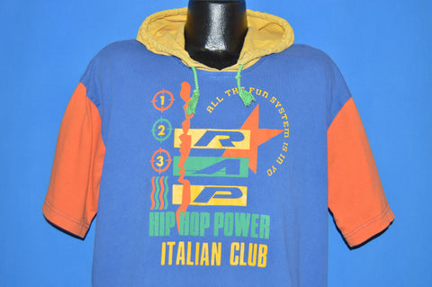 90s Italian Club Rap Hip Hop Power Hooded t-shirt Extra Large