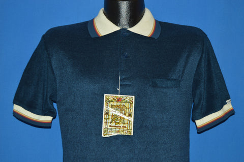 70s Kennington Blue Deadstock Velour Polo shirt Medium