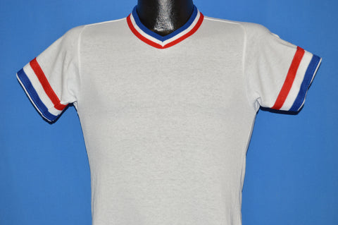 80s Wilson Red, White and Blue Striped Ringer t-shirt Youth Medium