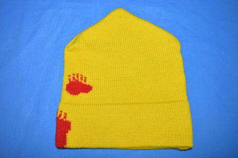80s Yellow Wool Bear Paw Print Knit Beanie Hat