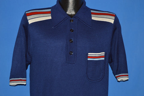 70s Jc Penney Striped Pocket Pullover Polo shirt Medium