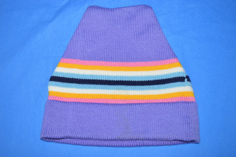 70s Wigwam Rainbow Stripe Wool Knit Beanie Hat