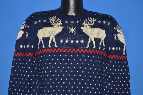 70s Moose Snowflake Knit Winter Pullover Sweater Medium