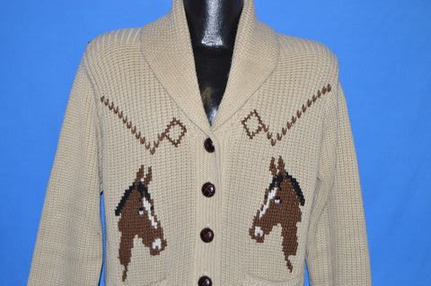 70s Horse Western Cowichan Shawl Neck Sweater Large
