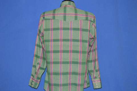 70s Dee Cee Green Plaid Pearl Snap Western Shirt Medium