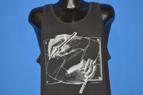 90s M.C. Escher Drawing Hands Tank Top Extra Large