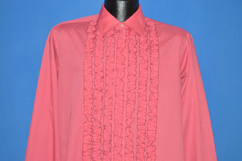 70s Pink Ruffled Tuxedo Shirt Medium
