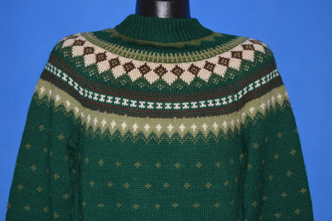 70s Berco Green Nordic Wool Snowflake Sweater Medium