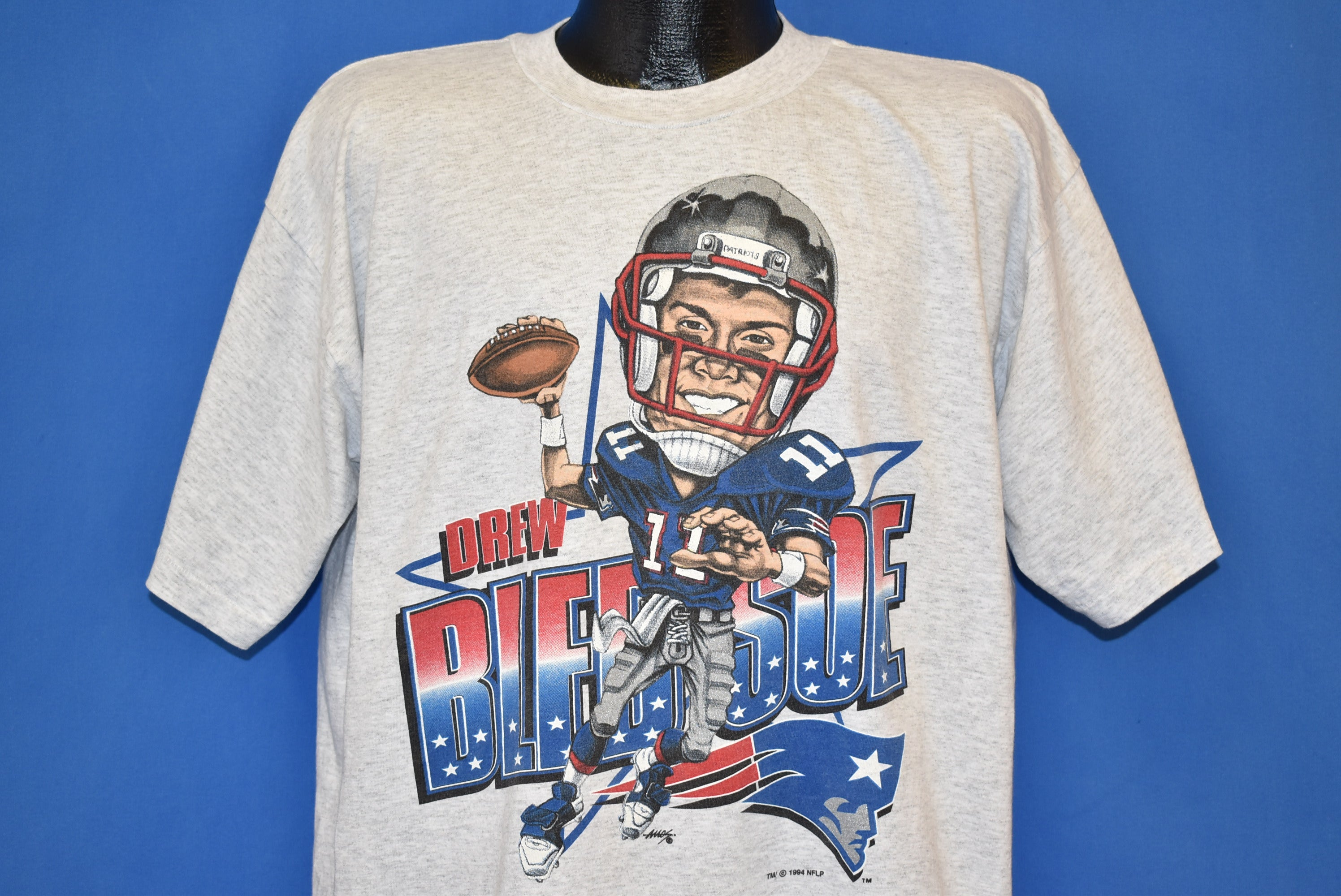 d9ca941dcd9 90s Drew Bledsoe New England Patriots Caricature t-shirt Large - The ...