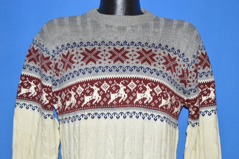 80s Reindeer Snowflake Winter Pullover Sweater Medium